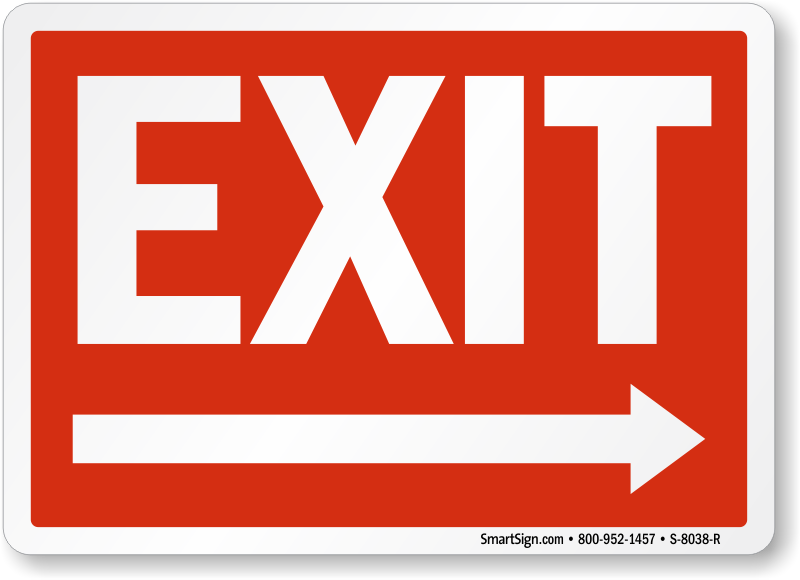 photo regarding Printable Exit Signs titled Directional Exit Symptoms With Arrows