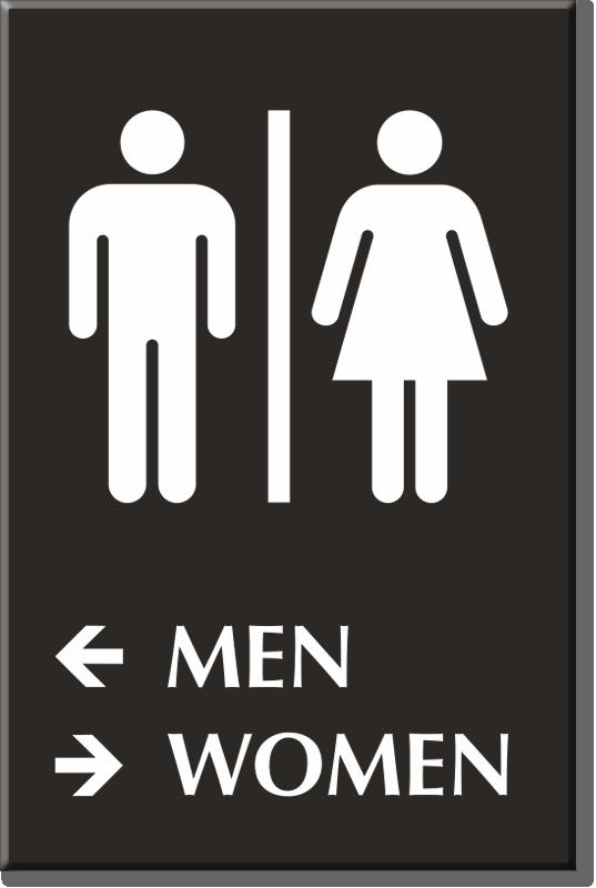 Men Left Women Right Bathroom Sign, Men And Women Bathroom Sign