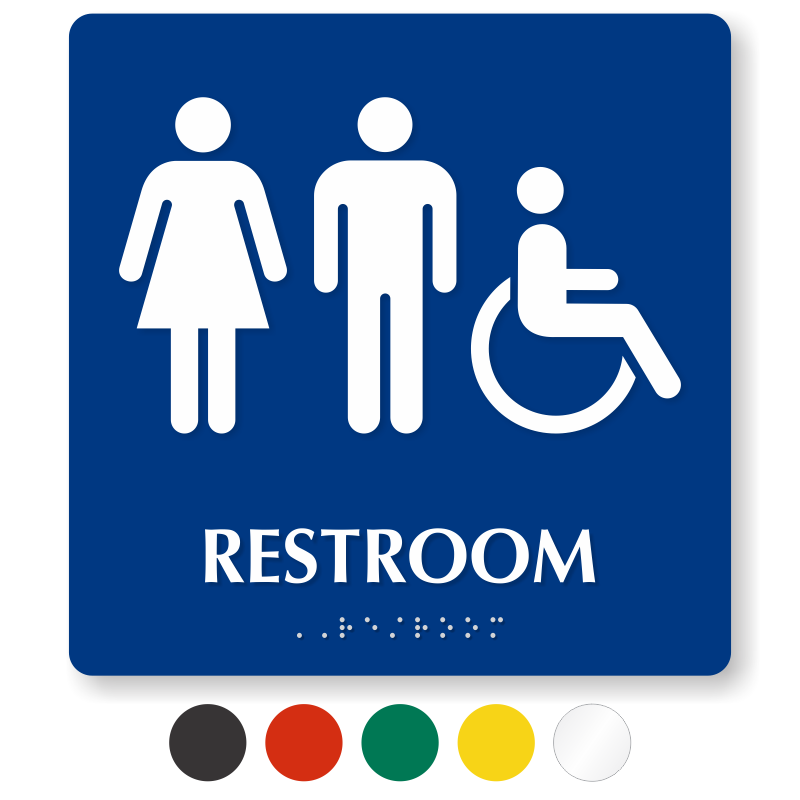 Braille Restroom Sign With Male Female, Men And Women Bathroom Sign