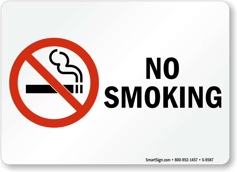 No Smoking Labels No Smoking 7 X 10 To 10 X 14 Inches Sku S 9587