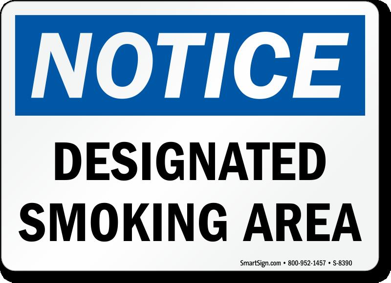 Notice Designated Smoking Area Sign Sku S 8390,Nursing School T Shirt Designs