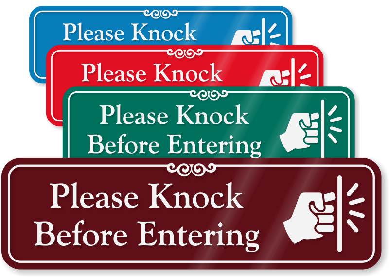 photograph regarding Please Knock Sign Printable called Make sure you Knock Signs and symptoms against MyDoorSign
