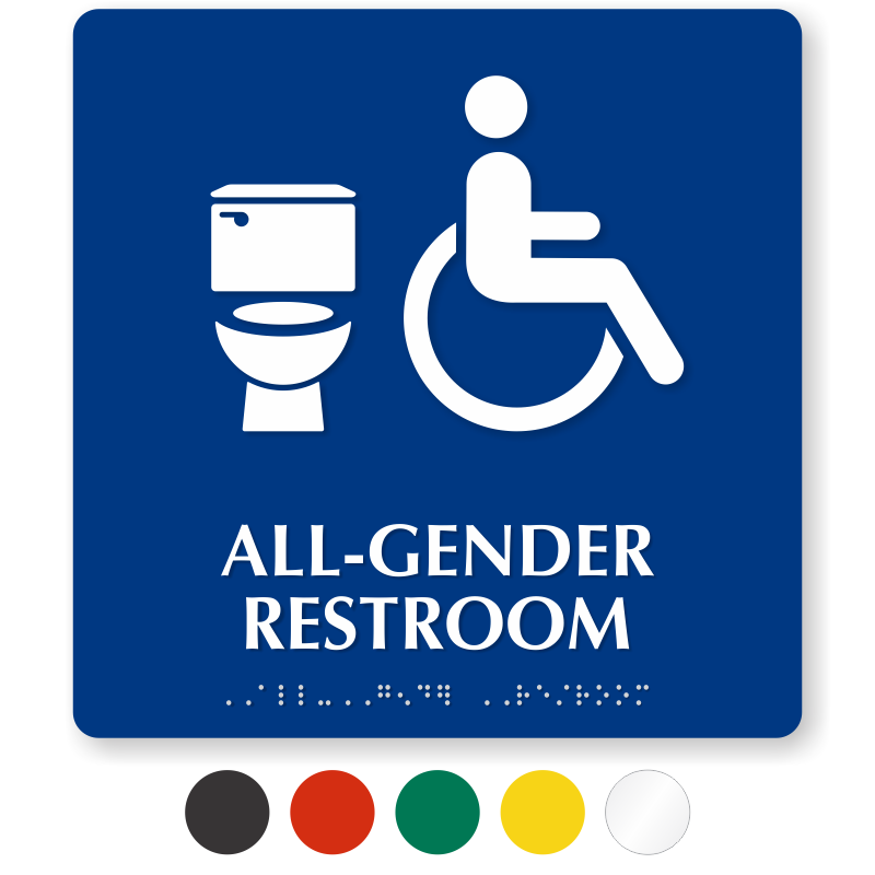 ADA Compliant All Gender Handicap Restroom Sign 9 x 9 with Braille Sapphire Blue//White