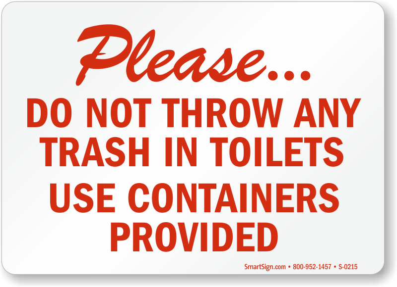 No Trash Toilet Use Container Bathroom Sign Free Pdf
