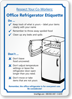 CoWorkers Office Refrigerator Etiquette Sign