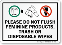 image regarding Trash Sign Printable referred to as Be sure to Do Not Flush Woman Solutions, Trash or Wipes Signal