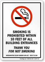 Smoking Is Prohibited Within 10 Feet Entrance Sign