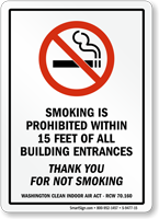 Smoking Is Prohibited Within 15 Feet Entrance Sign