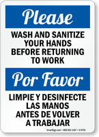 Bilingual Wash And Sanitize Your Hands Sign