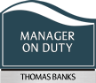 Custom Pacific Manager On Duty Sign with Border, 7.375in. x 8.5in.
