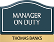 Custom Santera HT Manager On Duty Sign with Border, 6.5in. x 8.5in.