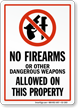 No Weapons & Guns Sign