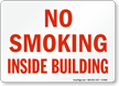No Smoking Inside Building Sign