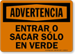 Spanish OSHA Warning Back In Or Pull Out On Green Sign