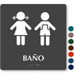 Spanish TactileTouch™ Braille Restroom Sign, 9in. x 9in.