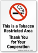 Smoke Free Zone Sign