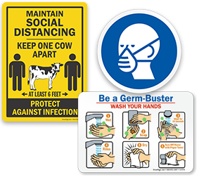Coronavirus and Hand Washing Instruction Signs